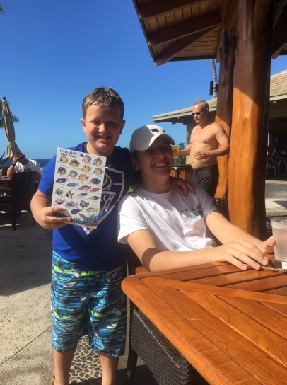Turner walked to the Hilton and found a chart of Hawaiian fish for Bodie -- our avid fisherman